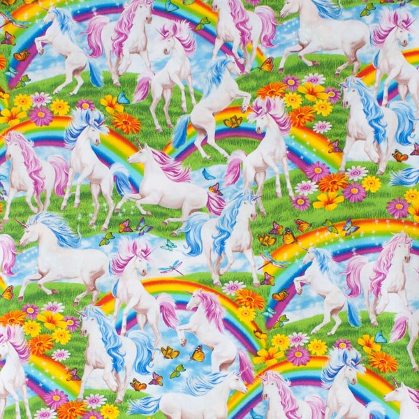 rainbow and unicorn fabric